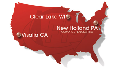 Locations in Clear Lake, WI; Visalia, CA; and corporate office in New Holland, PA