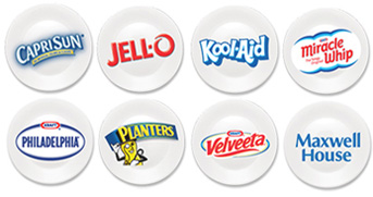 Major Kraft Foods Brands: CapriSun, Jell-O, Kool-Aid, Miracle Whip, Philadelphia Cream Cheese, Planters, Velveeta, Maxwell House